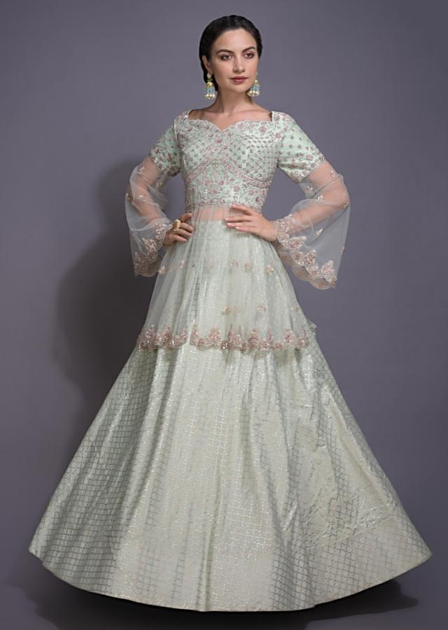Pista Green Lehenga With Foil Print And Peplum Top With Floral Embroidery Online - Kalki Fashion