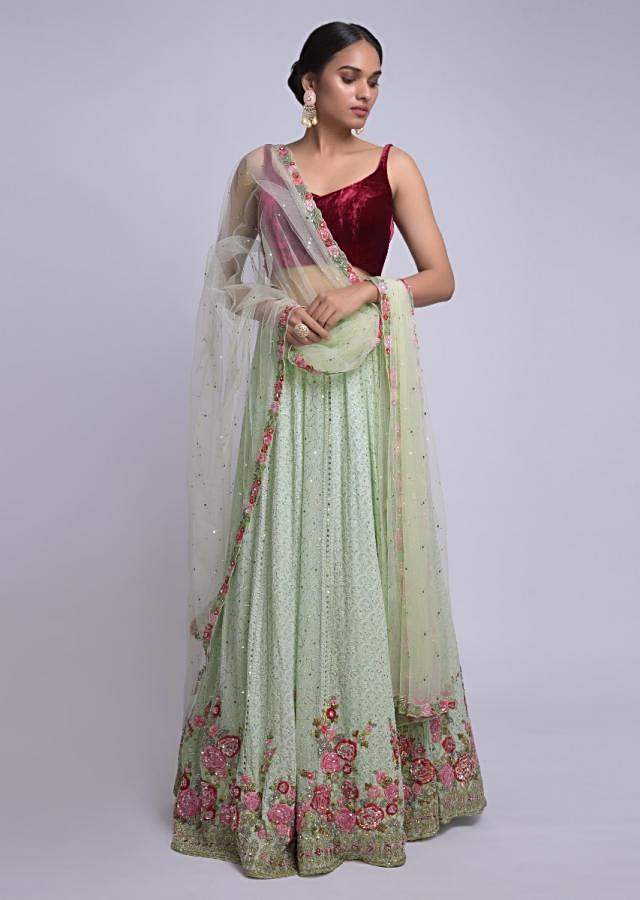 Pista Green Lehenga With Lucknowi And Floral Embroidery Online - Kalki Fashion