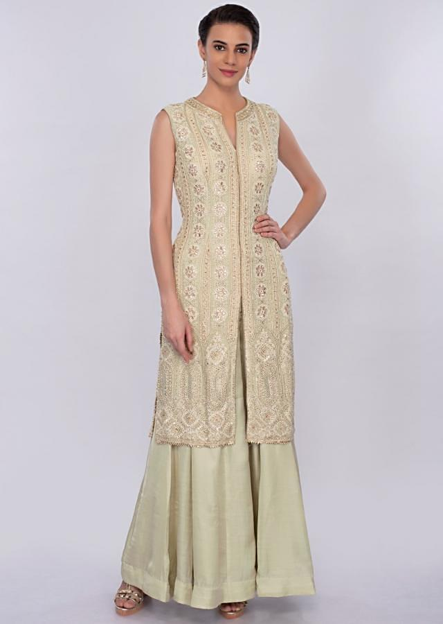Pista Green Palazzo Suit Set With Lucknowi Embroidery Online - Kalki Fashion