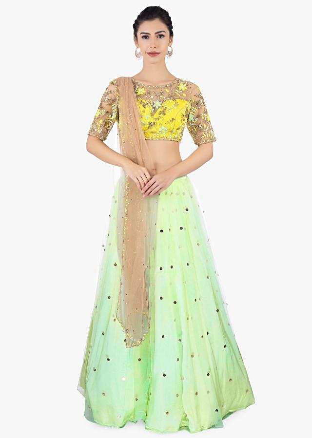 Pista Green Lehenga In Net Paired With A Yellow Net Blouse And Brown Net Dupatta Online - Kalki Fashion