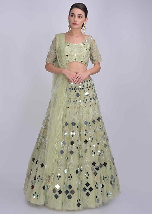 Pista Green Lehenga In Net With Mirror Work In Geometric Motifs Online - Kalki Fashion