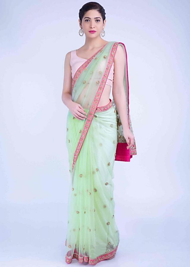 Pista Green Saree In Net With Two Toned Pink Blouse Piece Online - Kalki Fashion