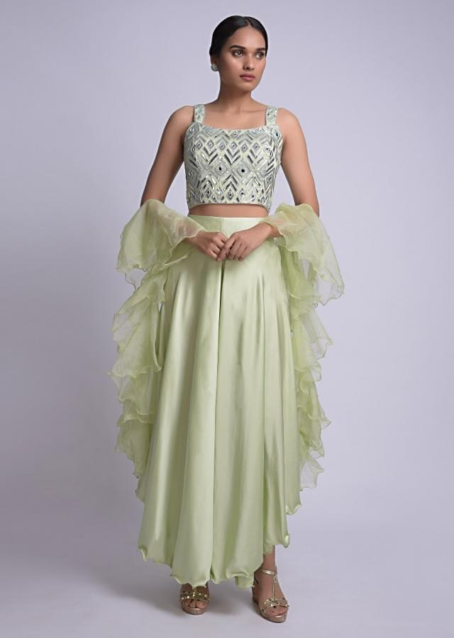 Pista Green Palazzo And Crop Top With Foil Applique And Ruffle Dupatta Online - Kalki Fashion
