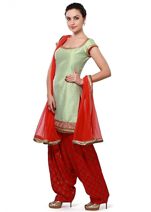 Pista green patiyala suit adorn in sequin embroidery only on Kalki