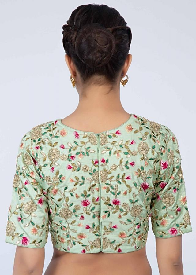 Pista green raw silk blouse in floral jaal work only on Kalki