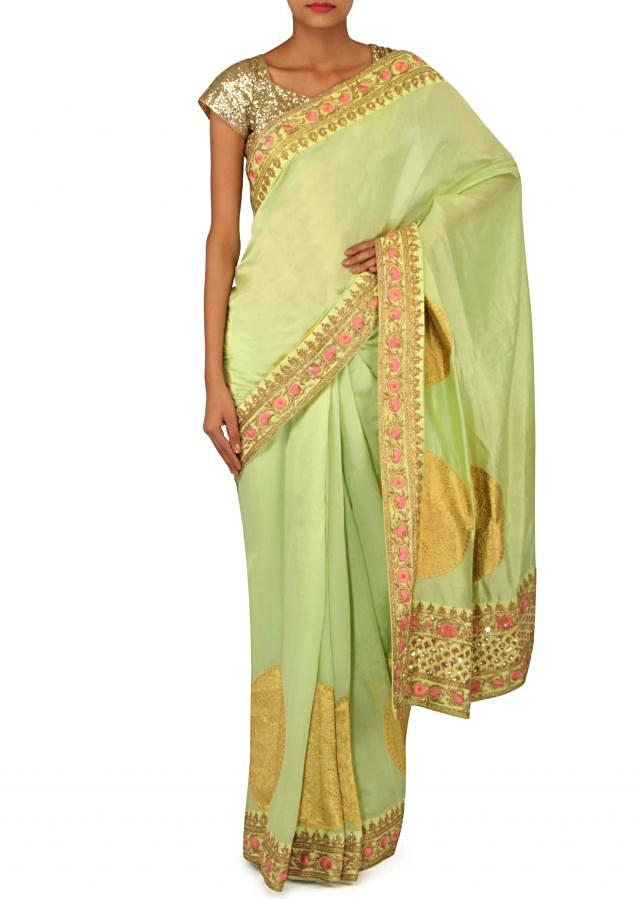 Muted Green Saree Embellished In Weave And Sequin Border Online - Kalki Fashion