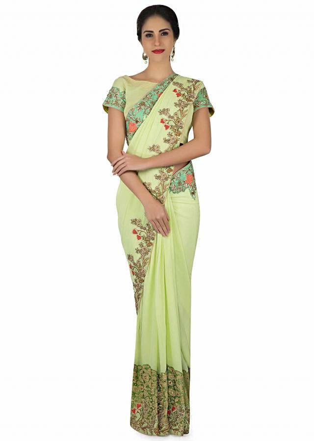 Pista Green Saree In French Knot Embroidery With Ready Blouse Online - Kalki Fashion