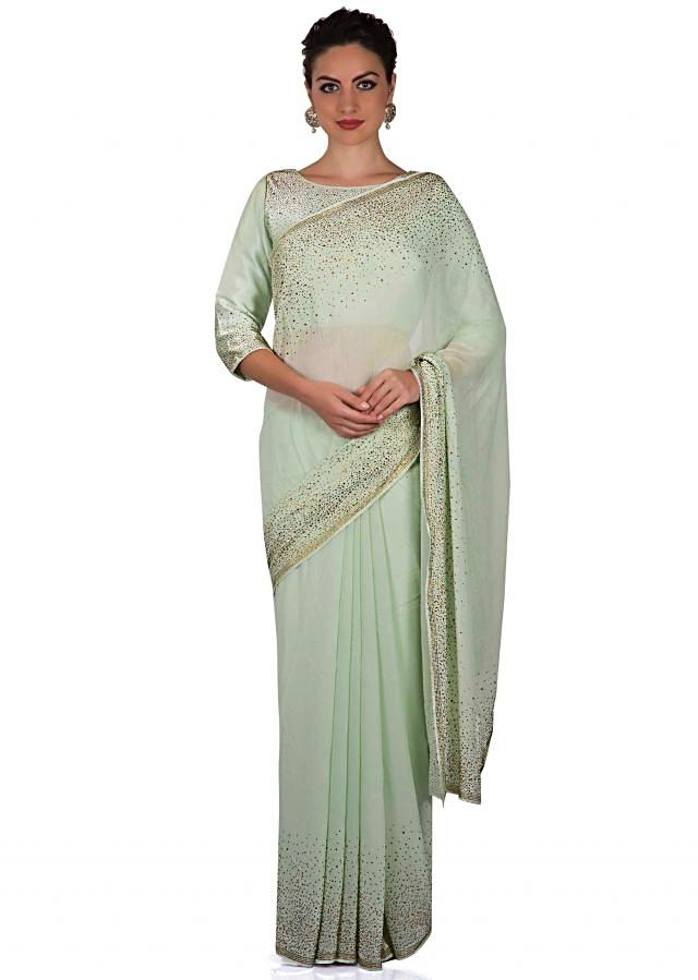 Pista green saree in kundan with ready blouse only on Kalki