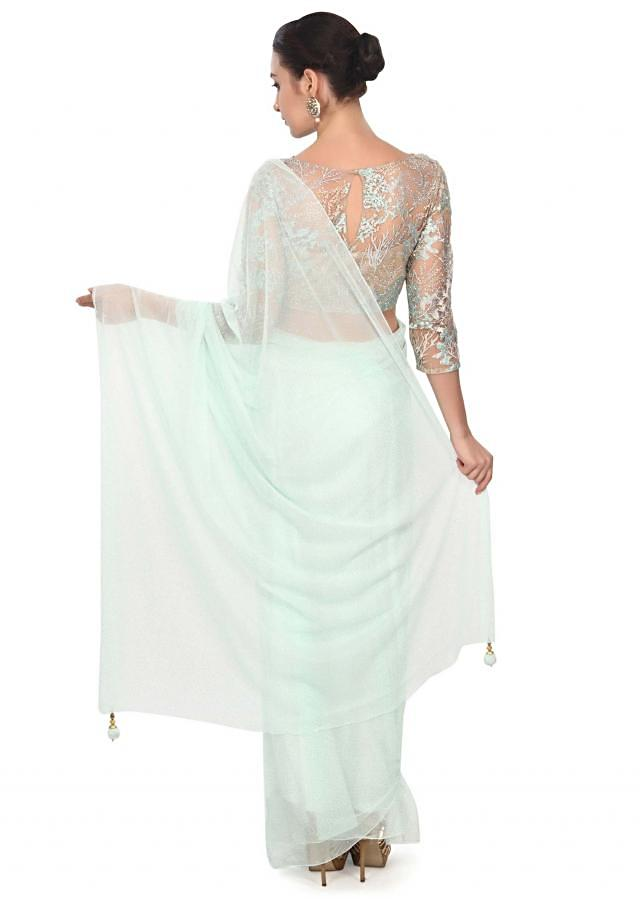 Mint green saree matched with embroidered blouse only on Kalki