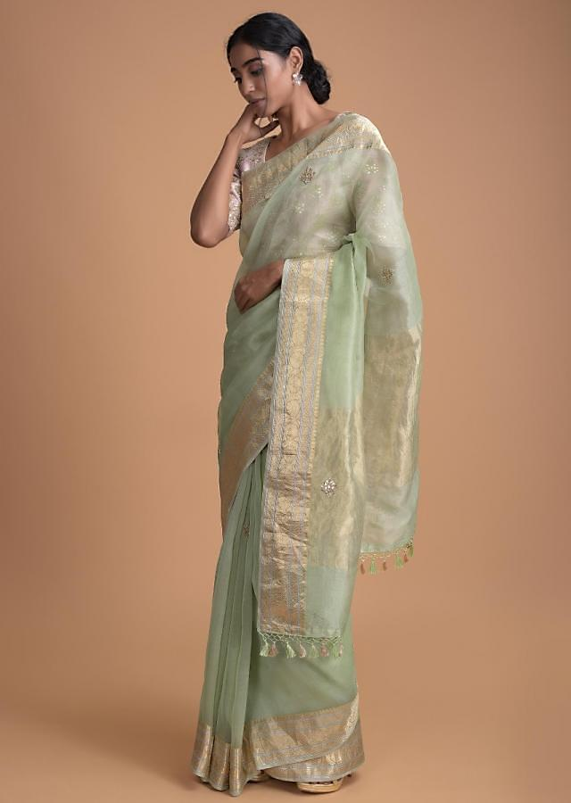 Pista Green Saree With Embellished Buttis And Blush Pink Blouse Online - Kalki Fashion
