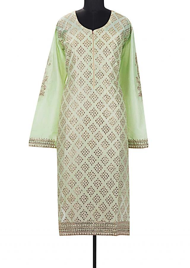 Pista green semi stitched suit in geometric motif butti all over only on Kalki
