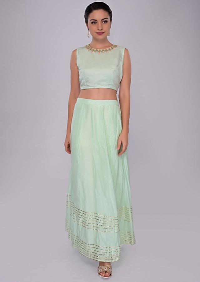Pista Green Skirt And Suit With Matching Dupatta And Jacket Online - Kalki Fashion