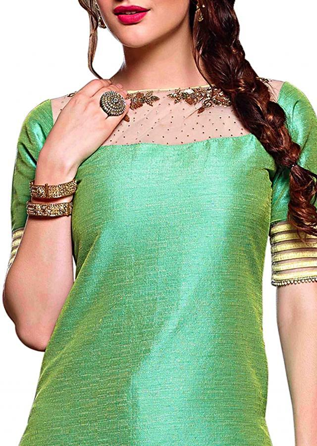 Pista green straight Patiala suit in sequin and fancy lace
