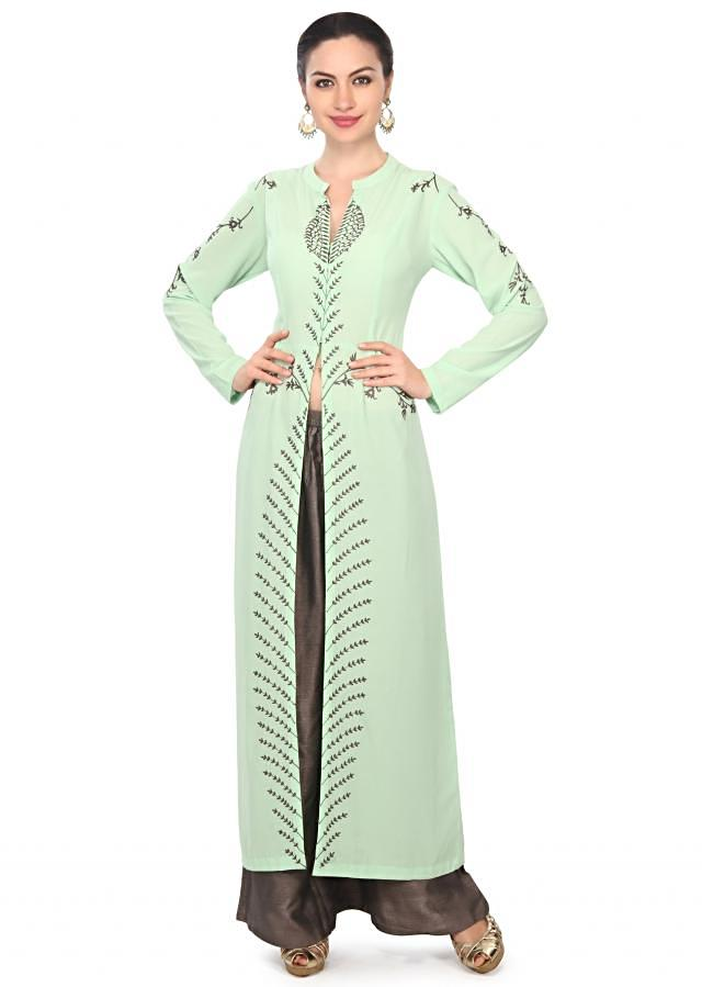 Pista green straight suit in resham embroidery only on Kalki
