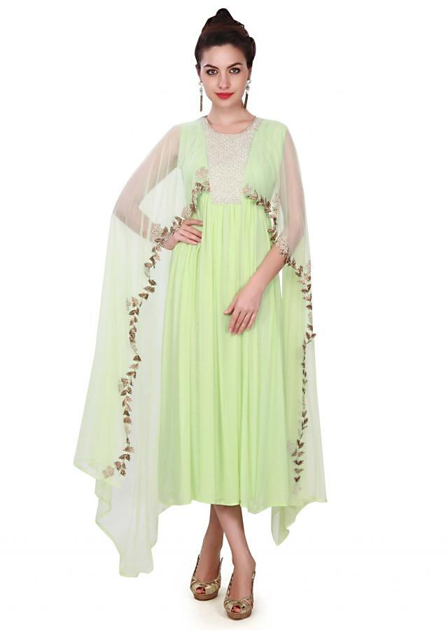 Pista green suit adorn in thread and attach cape only on Kalki