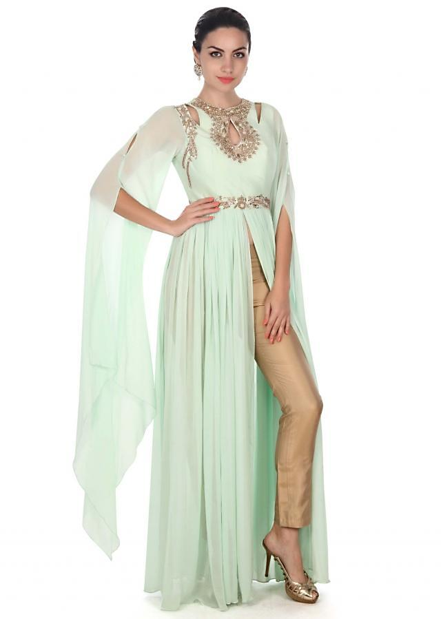 Pista green suit adorn in zardosi embroidery only on Kalki