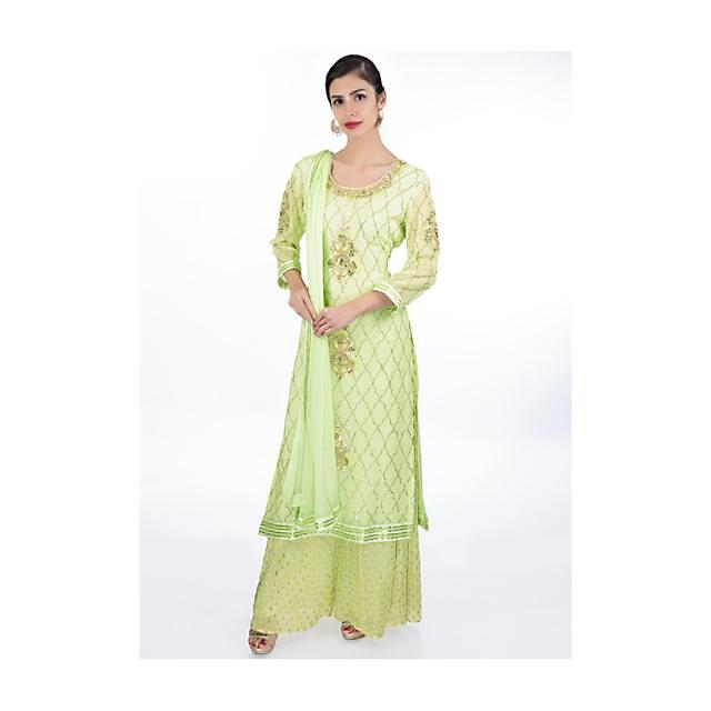 Pista Green Suit In Moroccan Motif Paired With Weaved Palazzo And Matching Chiffon Dupatta Online - Kalki Fashion