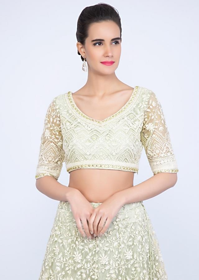 Pista Green Lehenga Set In Thread Embroidered Net Along With Moti And Stone Work Online - Kalki Fashion