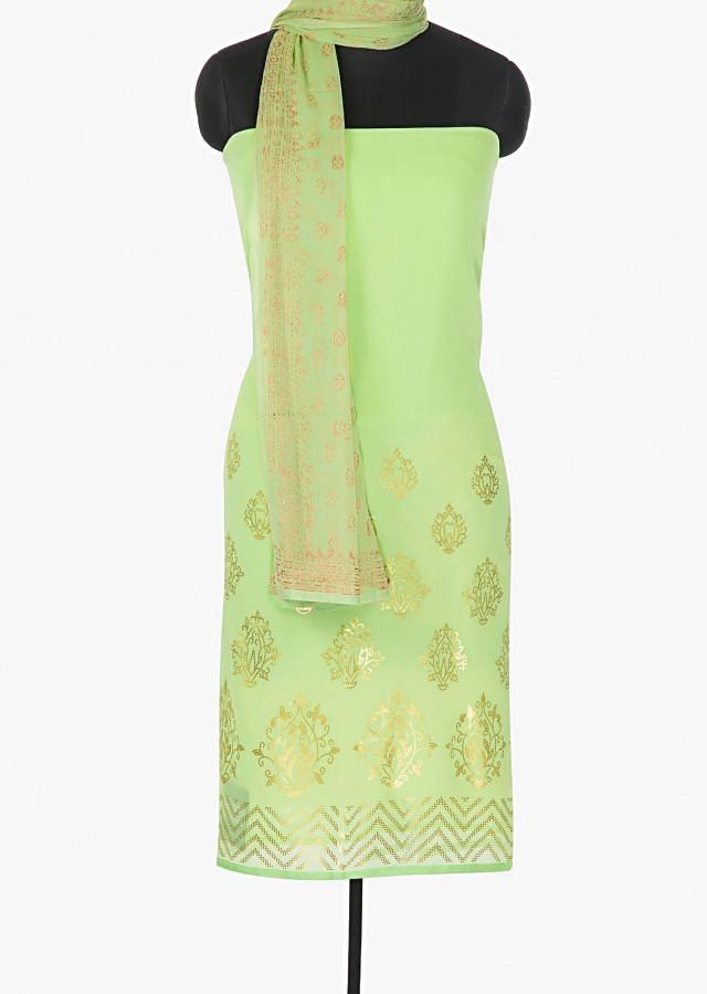 Pista green unstitched georgette suit enhanced with  foil sequin butti only on Kalki