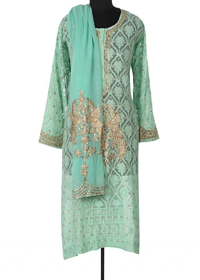 Pista green unstitched suit adorn in thread and zari only on Kalki