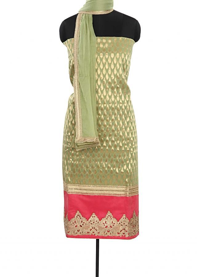 Pista green unstitched suit enhanced in cut work border only on Kalki