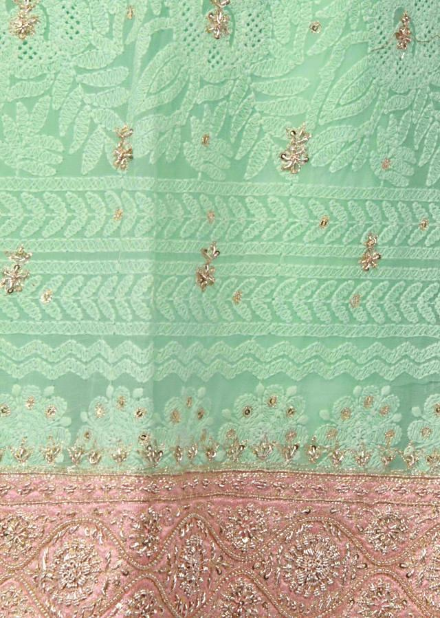 Pista green unstitched suit lucknowi thread embroidery only on Kalki