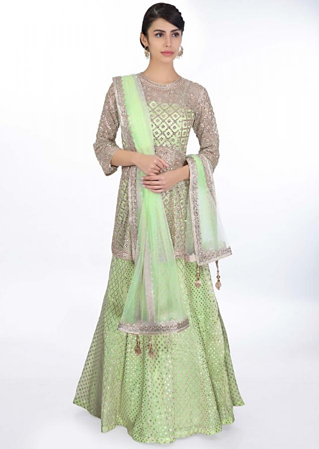 Pista Green Weaved Lehenga Paired With A Strap Crop Top Along With Embroidered Net Top Layer And Net Dupatta Online - Kalki Fashion