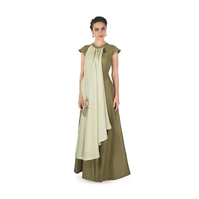 Pista Olive green overlapping layers dress with cat motifs  only on kalki