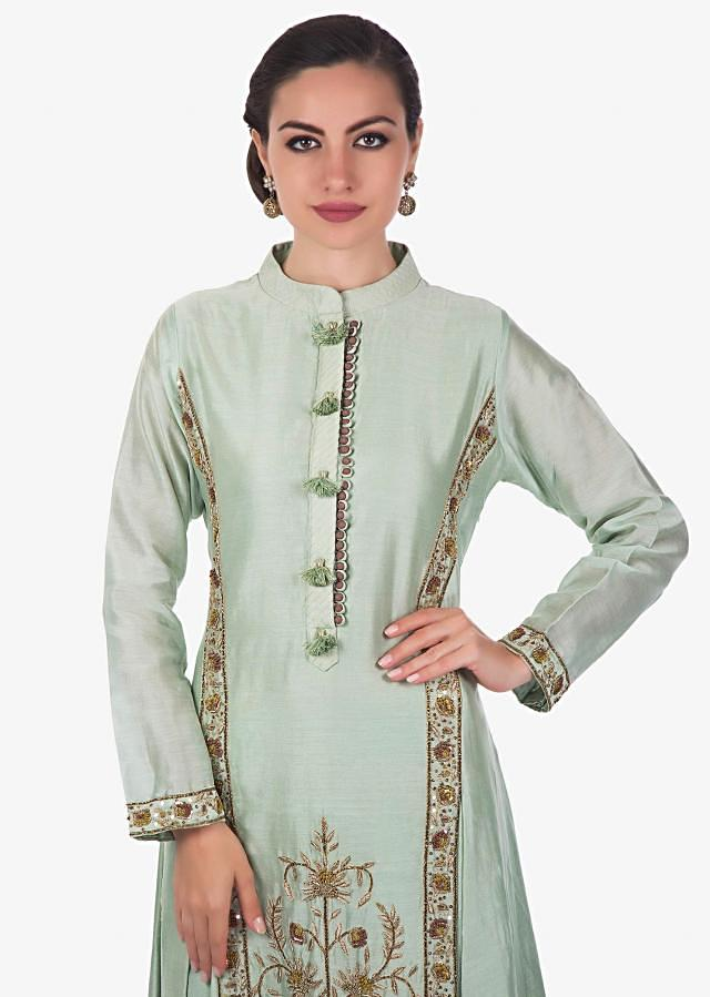 Pista green straight palazzo suit in zardosi and sequin embroidery only on Kalki