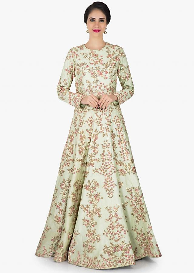 Pista green anarkali gown adorn in zari and sequin embroidery work only on Kalki
