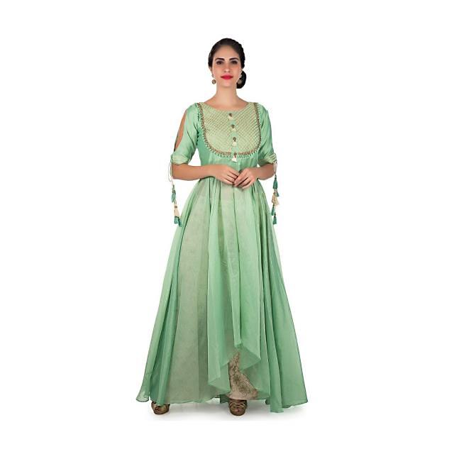 Pista green anarkali suit in cotton silk with gotta lace embroidered bodice only on Kalki