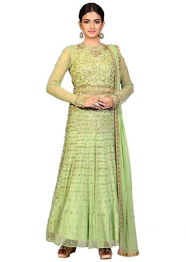 Pista green anarkali suit in net embellished in sequin embroidery