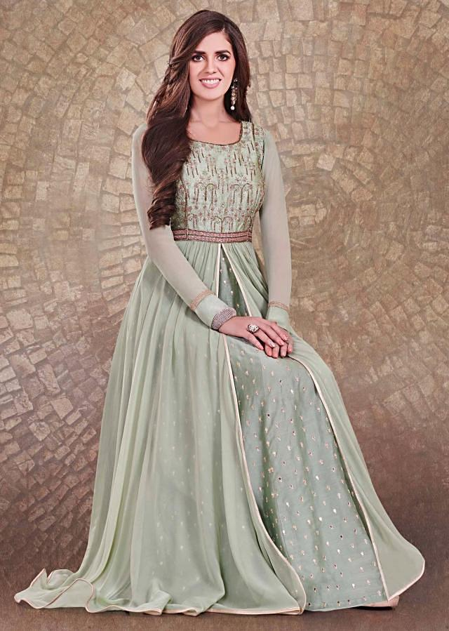 Pista green anarkali suit with under layer and zardosi embroidered bodice