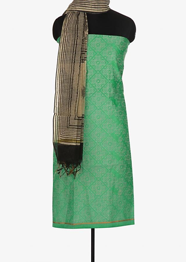 Pista green and black unstitched suit in thread embroidery work only on Kalki