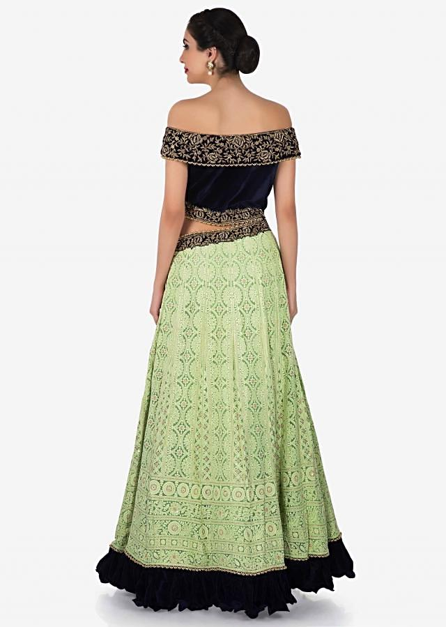 Pista green and navy blue gown with off shoulder neckline and waist cut out only on Kalki