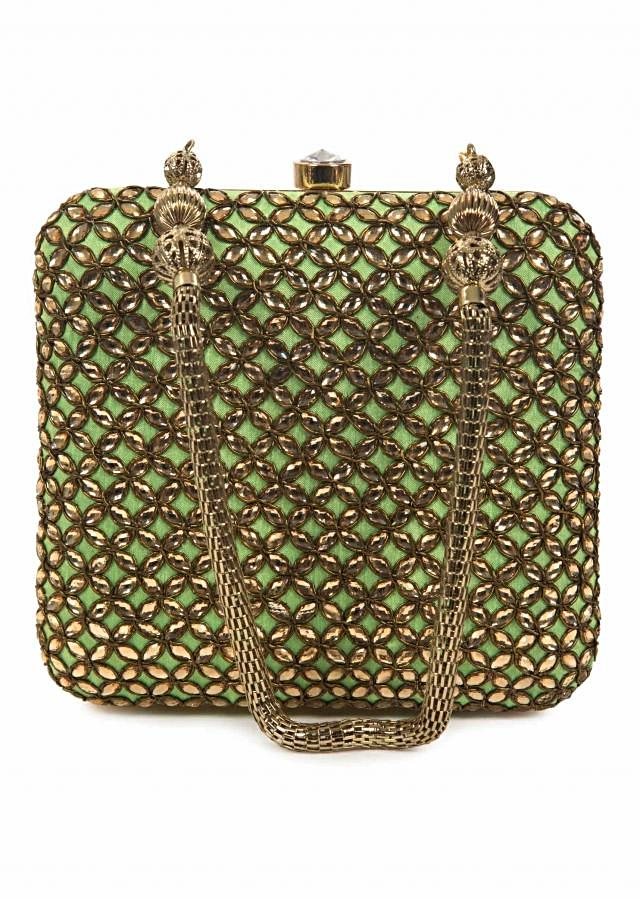 Pista green base clutch with kundan embroidery only on Kalki