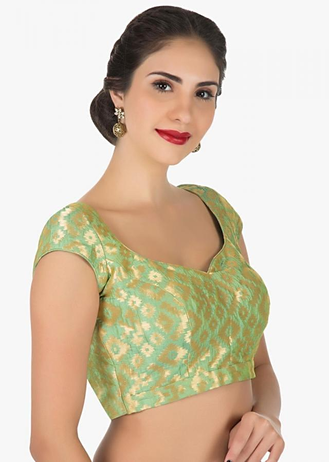 Pista green blouse in brocade silk only on Kalki