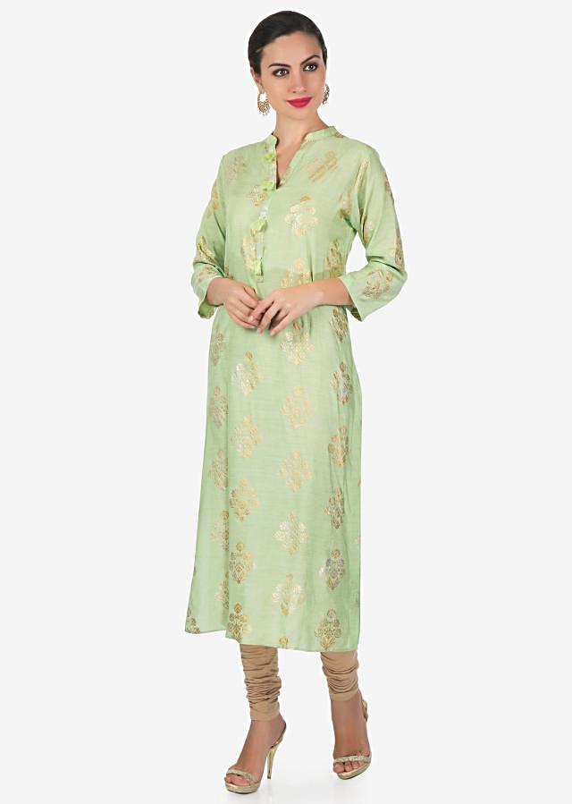Pista green kurti with gold and silver printed butti only on Kalki