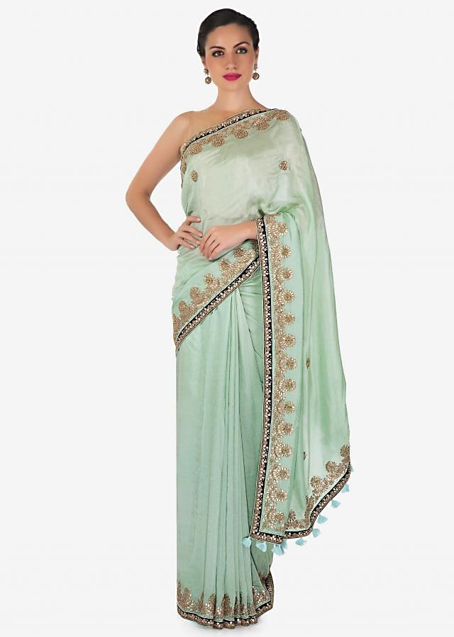 Pista green saree in cotton silk with gotta patch and zardosi embroidery only on Kalki