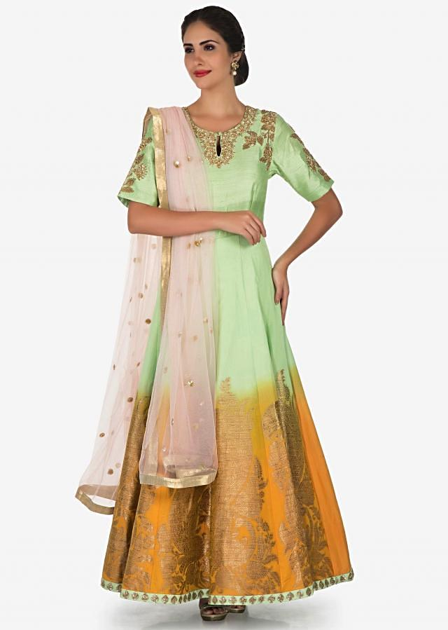 Pista green suit with pink dupatta adorn in zardosi and sequin work only on Kalki