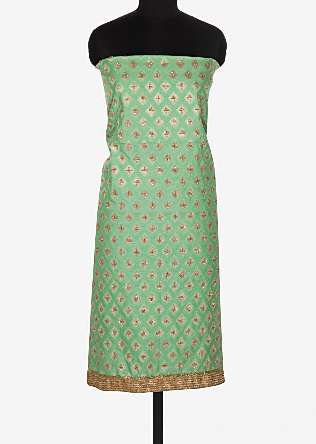 Pista green unstitched printed suit embellished in sequin and cut dana work only on Kalki