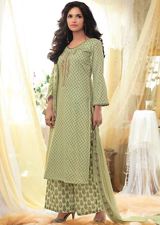 Pista green unstitched printed suit with embroidered placket only on Kalki