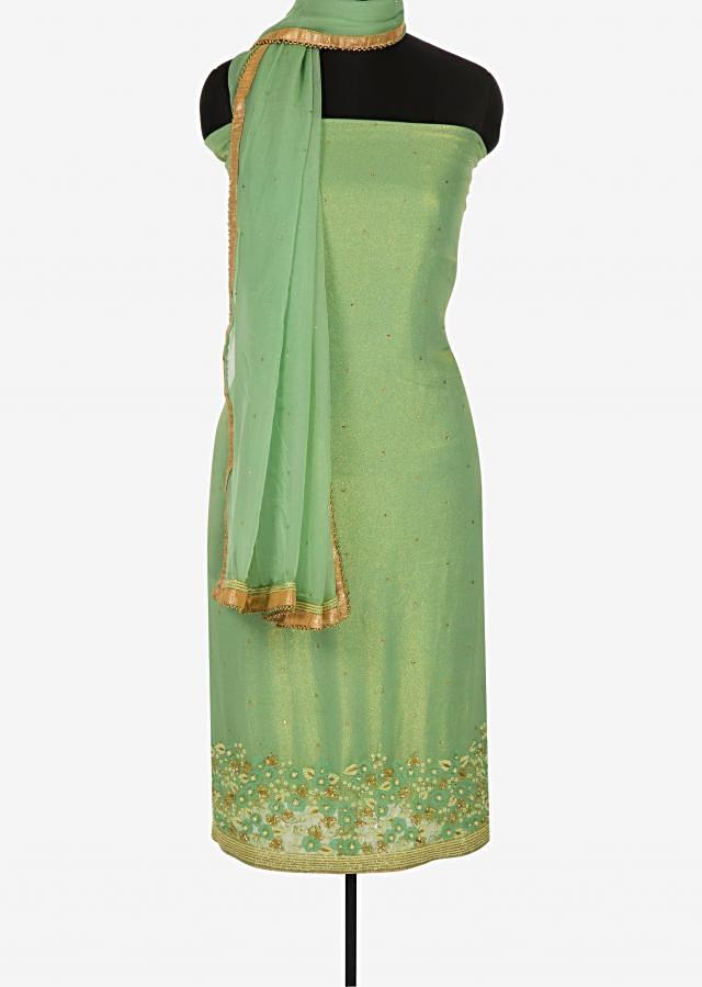 Pista green unstitched suit in shimmer georgette embellished in moti and cut dana work only on Kalki