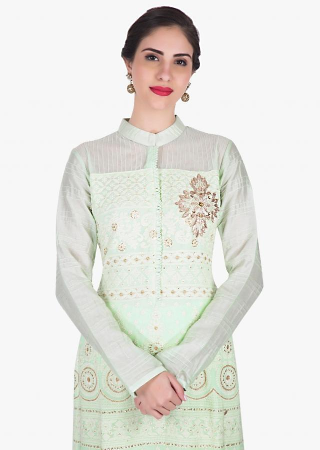 Pista green palazzo suit in georgette elevated in thread and mirror work only on Kalki