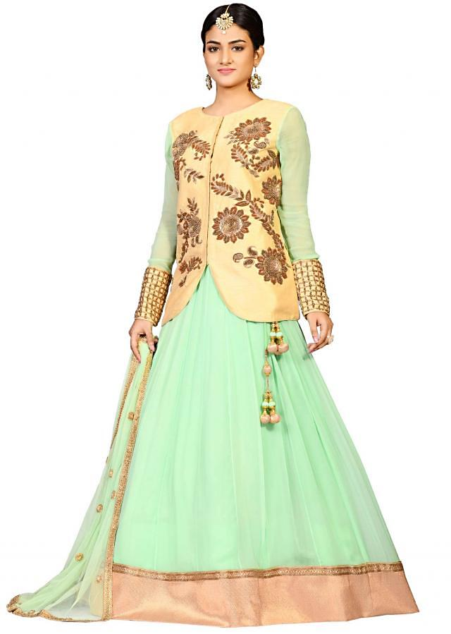 Pista toxic jacket with lehenga in georgette enhanced in antique embroidery only on Kalki