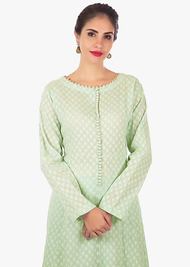 Pistachio green kurti with foil printed palazzo and chicken Kari dupatta only on Kalki