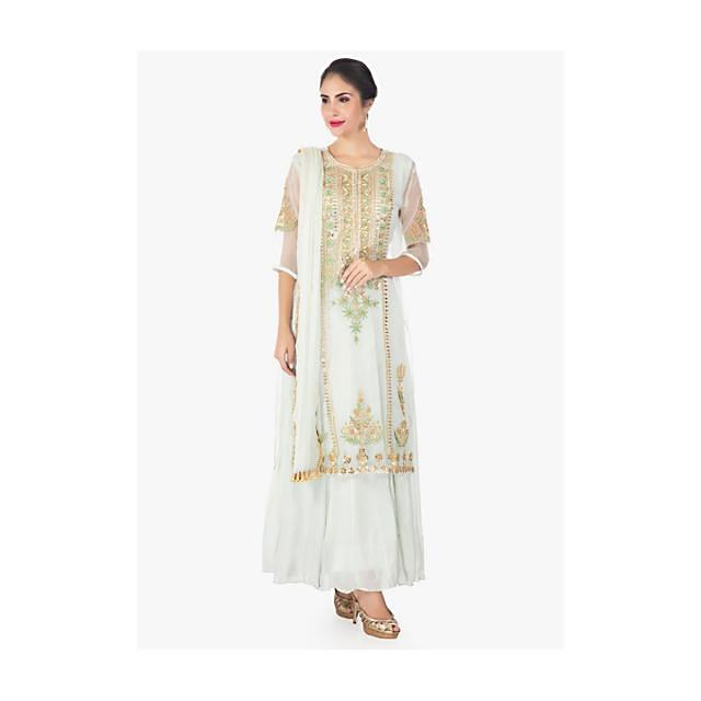 Pistachio Green Top In Organza Silk Paired With A Cotton Long Inner And Chiffon Dupatta Online - Kalki Fashion