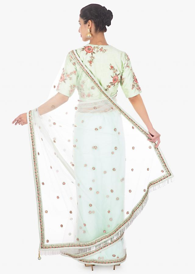 Pistachio Saree In Net Paired With A Matching Raw Silk Blouse Online - Kalki Fashion