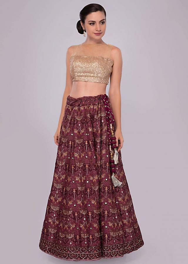Plum and maroon shade cotton lehenga with self print and embroidery only on Kalki