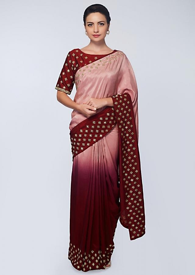 Plum And Millennial Peach Saree In Satin With Abla And Cut Dana Embroidered Buttis Online - Kalki Fashion